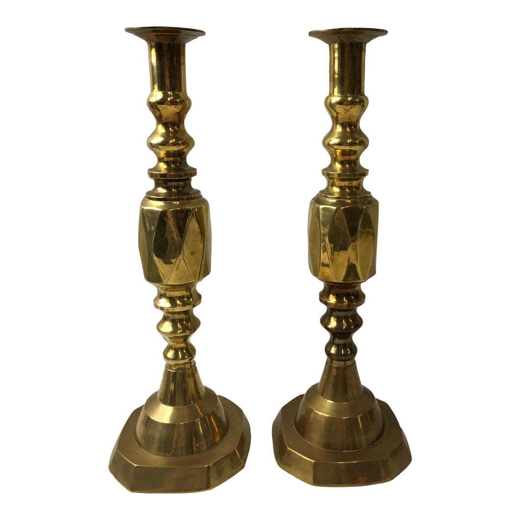 Moroccan Brass Candle Holders - A Pair