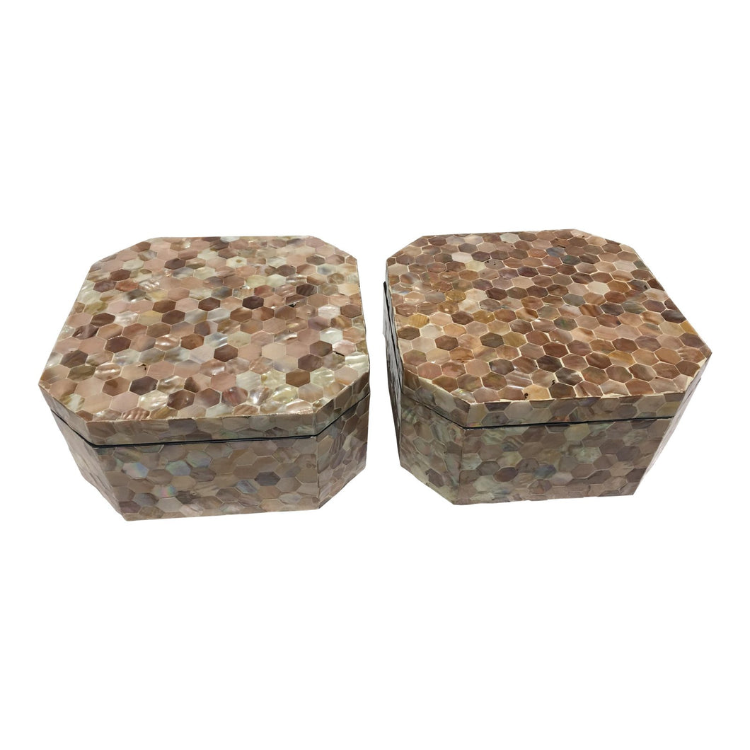 Mother-Of-Pearl Inlaid Boxes - a Pair
