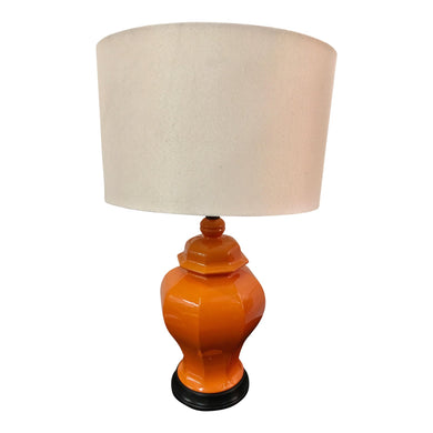 Orange Ginger Jar Style Lamp