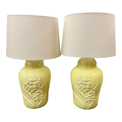 Palm Beach Style Floral Lamps - a Pair