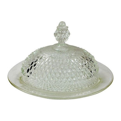 Pressed Glass Dome Butter Dish