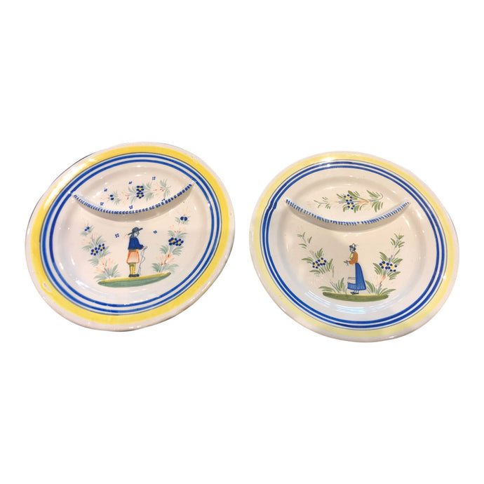 Quimper France Porcelain Plates, Pair