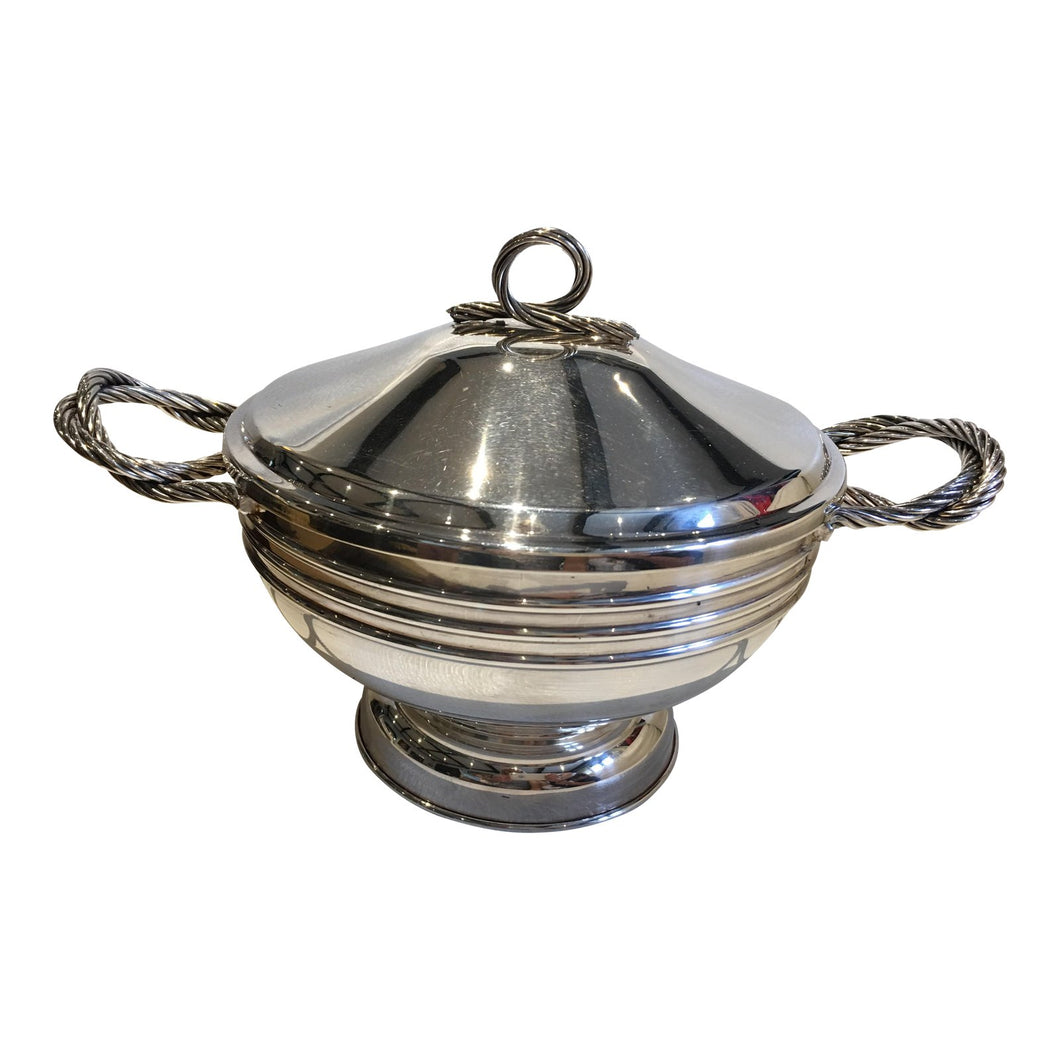 Rope Silverplate Covered Bowl