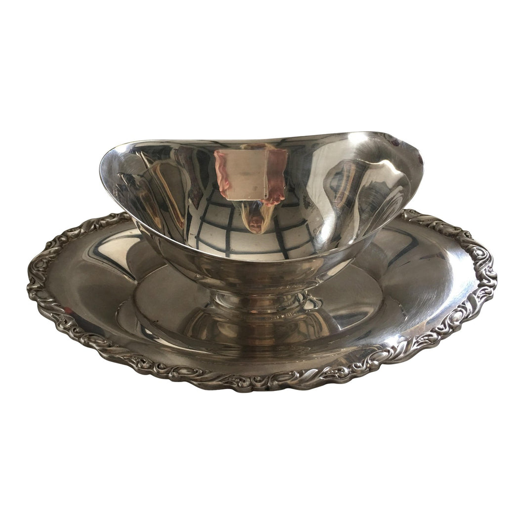 Silver Floral Rim Sauce Boat & Plate - A Pair