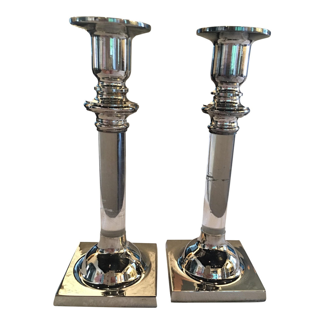 Silverplate & Lucite Candleholders - A Pair
