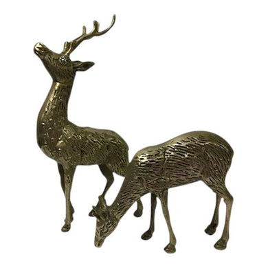Solid Brass Deer Figures - A Pair