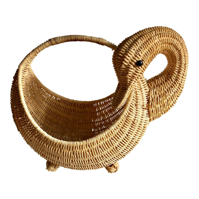 Swan Wicker Handled Basket