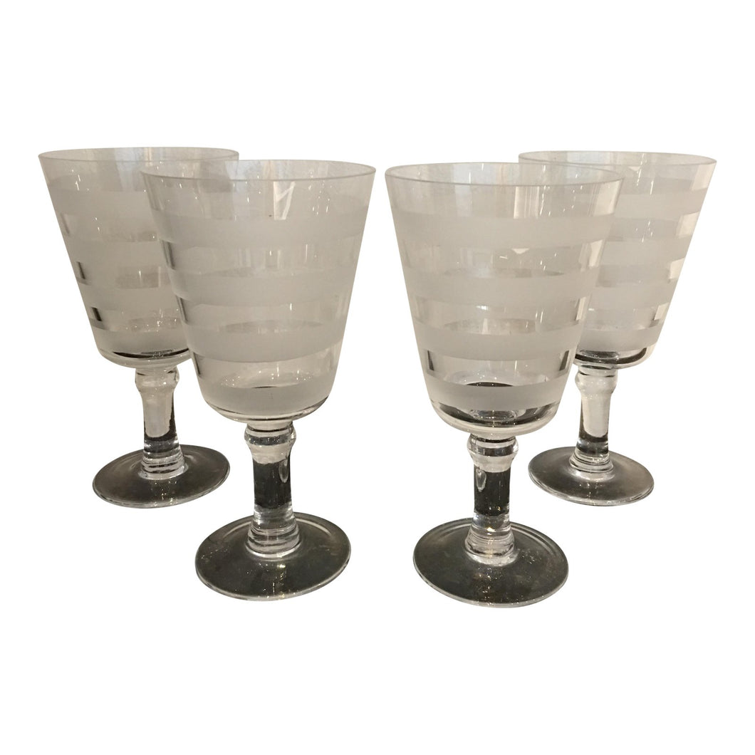 Tall Striped Frosted Glasses - Set of 4