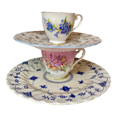 Tiered English Cups & Saucers - Set of 2