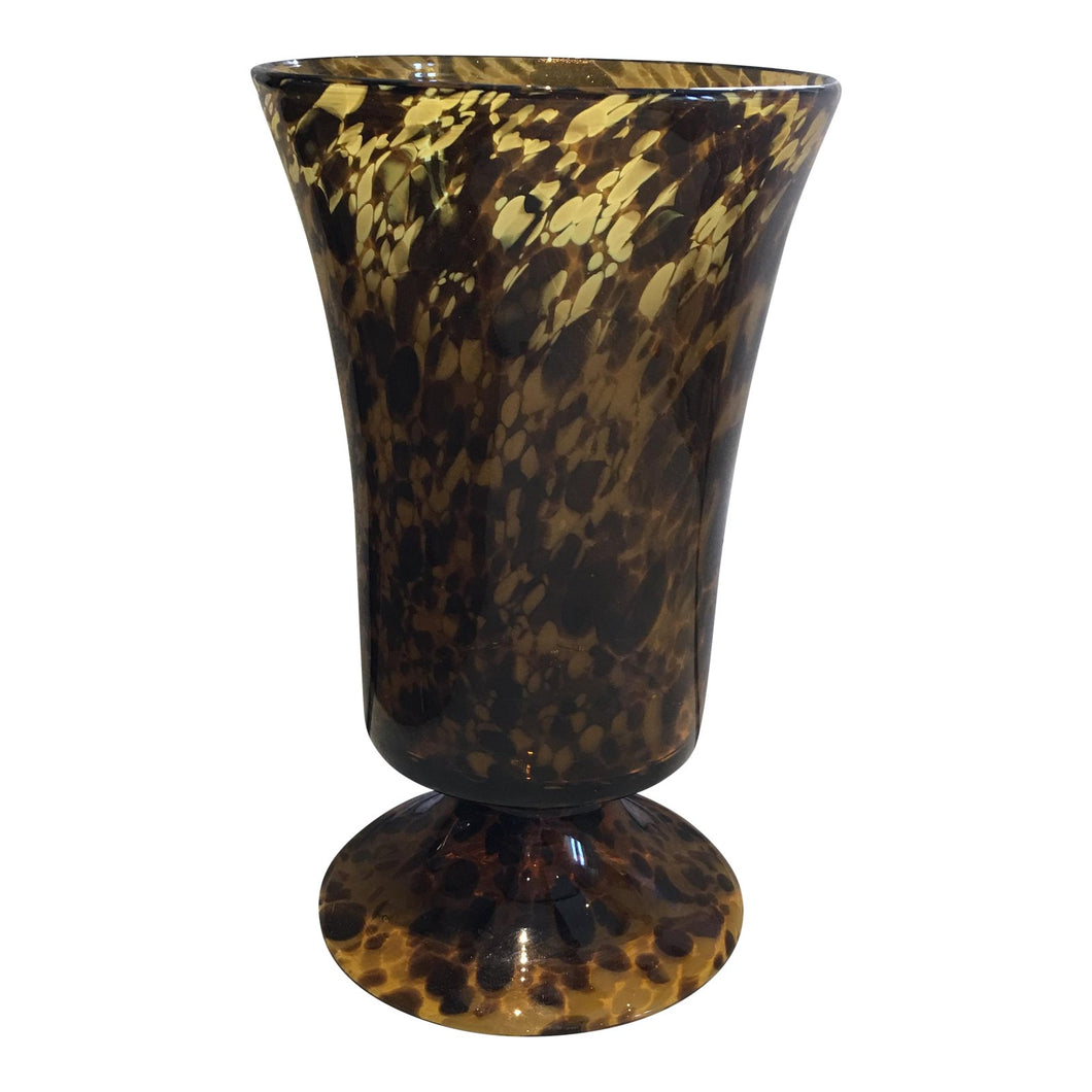 Tortoise Glass Footed Vase