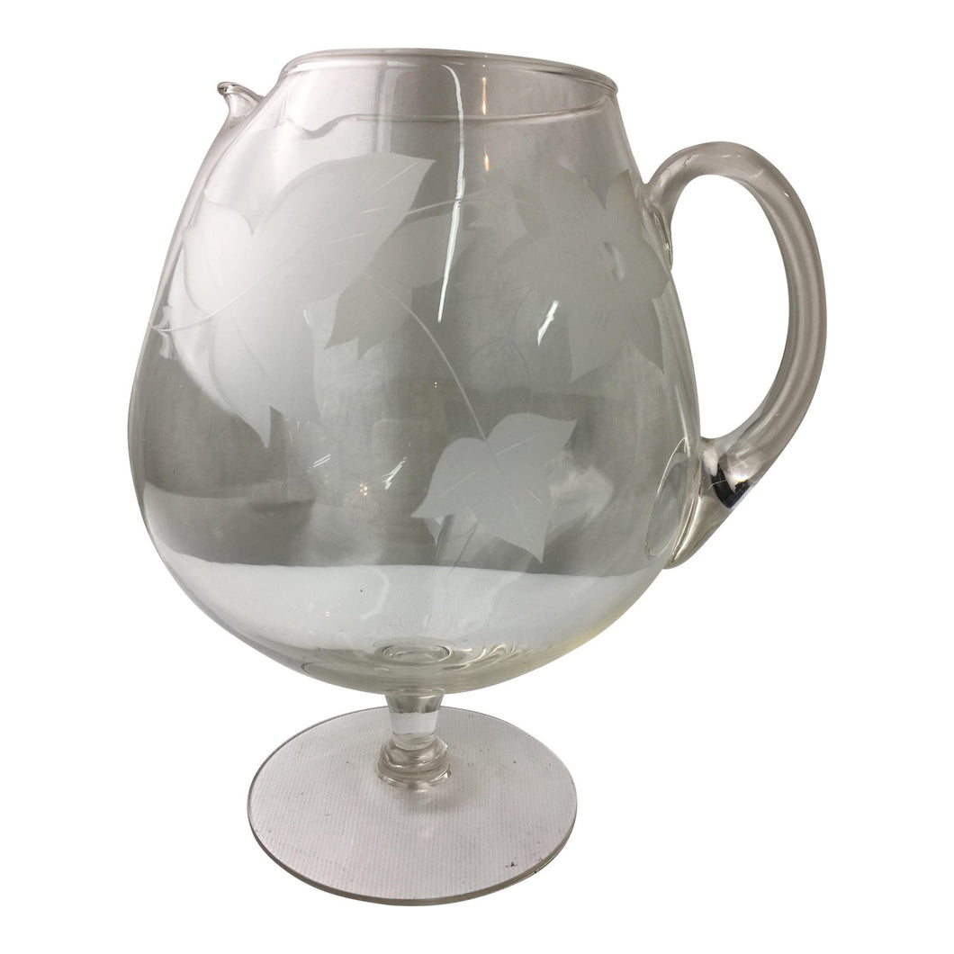 Transitional Glass Frosted Footed Pitcher