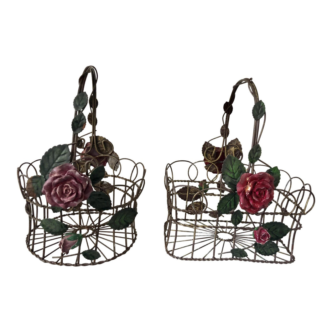 Vintage 1960s Tole Baskets, Pair