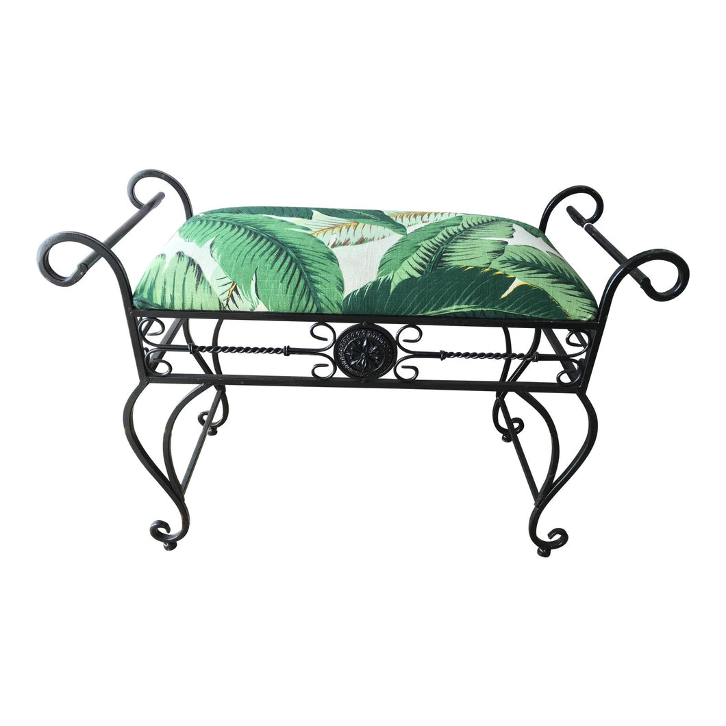 Vintage Black Wrought Iron & Banana Leaf Linen Bench