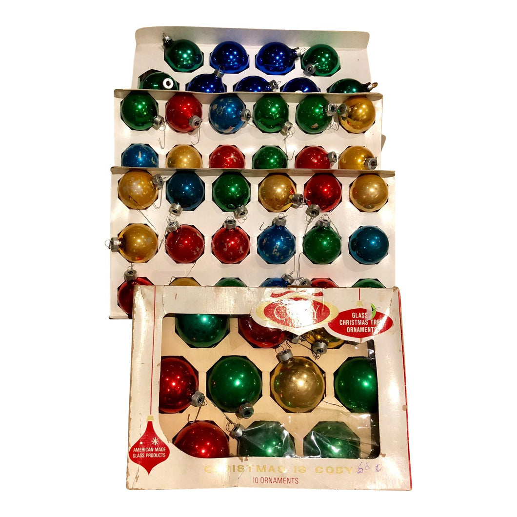 Vintage Multicolored Glass Ornaments, Set of 50