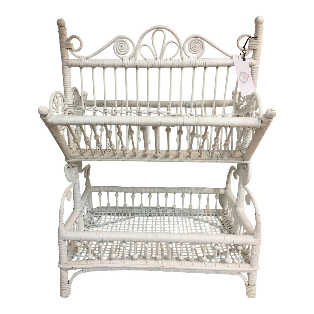Wicker Tiered Magazine Rack