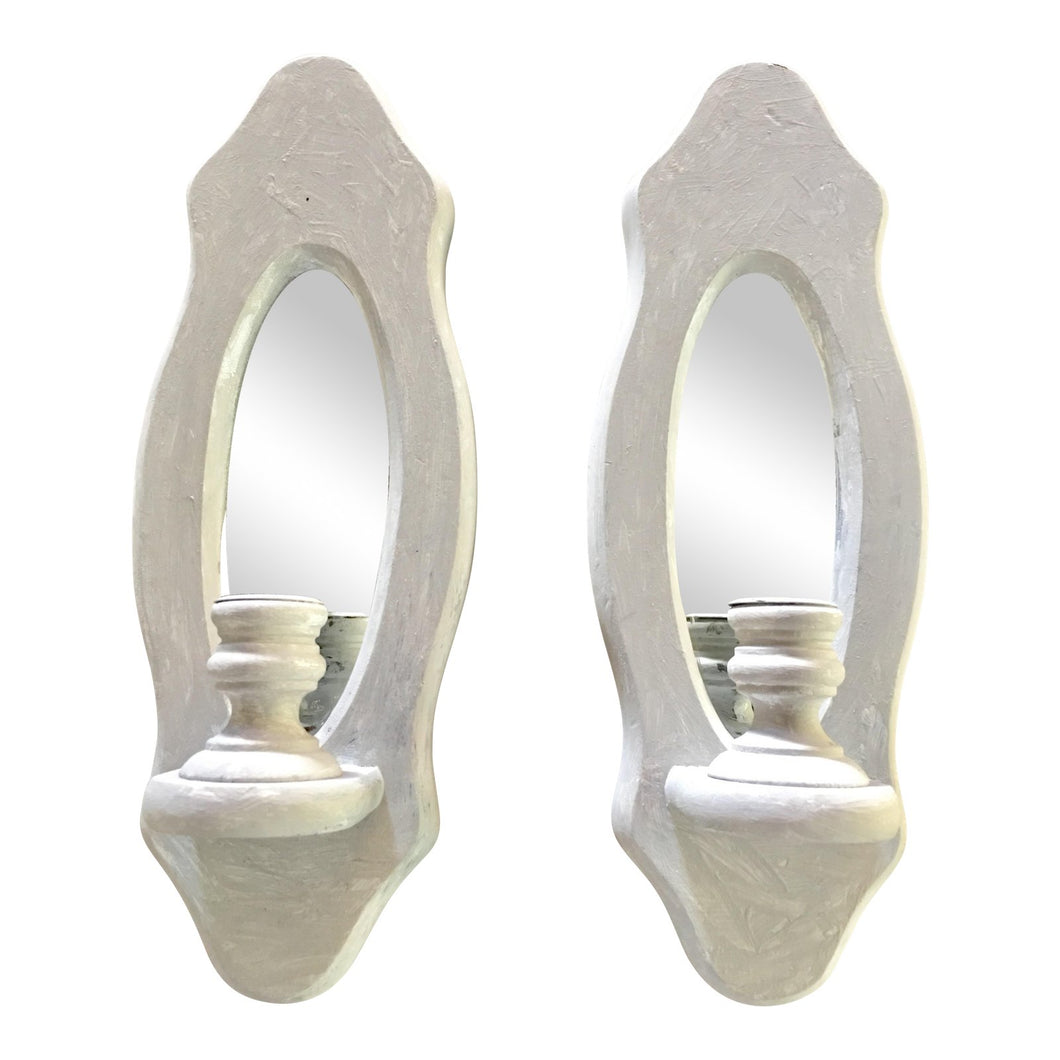 Wood Mirrored Grey Candle Sconces - a Pair