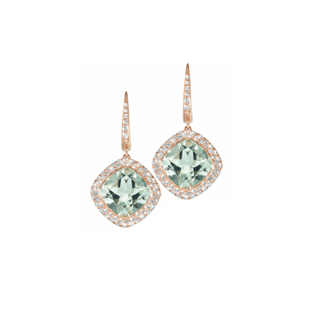 The Oliver Heemeyer Green Amethyst diamond earrings are made of 18k rose gold centering a faceted green amethyst and are adorned by numerous sparkling diamonds.