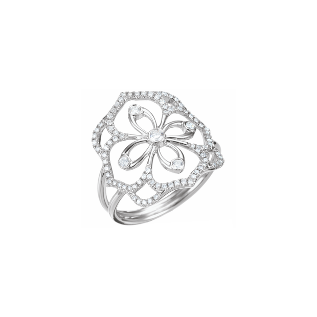 A ring as pretty as a blooming flower. This adorning ring from Oliver Heemeyer wraps your finger in 18k white gold set with sparkling diamonds, arranged in beautiful flower design.