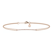Oliver Heemeyer double strand 18k rose gold bracelet connected by a diamond adorned bridge piece and finished off with a OH pendant at the clasp. Adjustable in length.