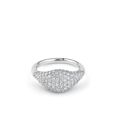 Oliver Heemeyer Cavalier white diamond ring S in 18k white gold set with white diamonds.