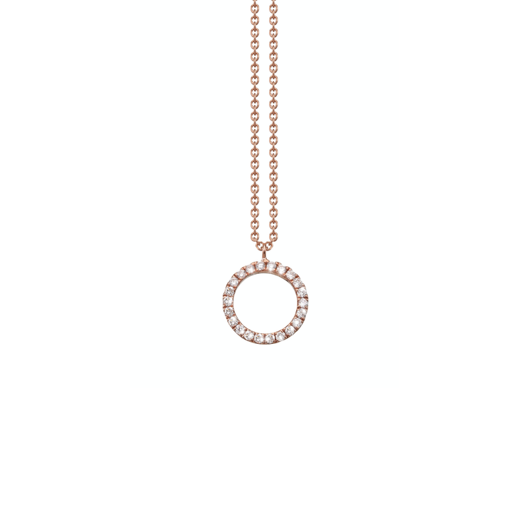 Made of 18k rose gold and set with diamonds arranged in a circular shape, the Oliver Heemeyer Circle of Life necklace add a sparkle to every outfit. Circle size medium.