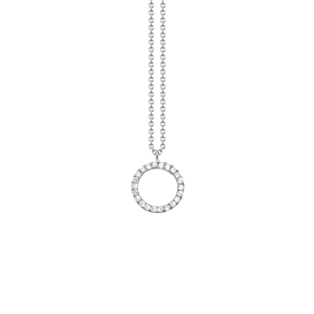 Made of 18k white gold and set with diamonds arranged in a circular shape, the Oliver Heemeyer Circle of Life necklace add a sparkle to every outfit. Circle size medium.