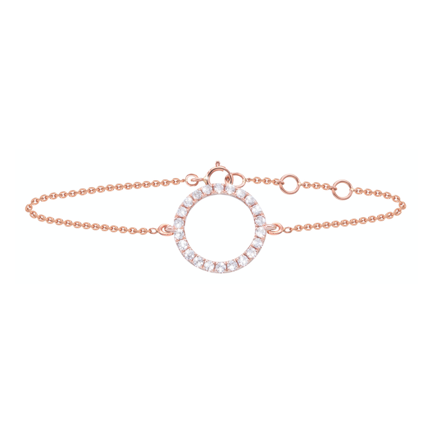 Sleek and sophisticated, this 18k rose gold bracelet, crafted with 24 diamonds, adds a sparkle to every outfit and occasion. Adjustable in length and equipped with a sturdy clasp, the Circle of Life bracelet adds a bit of glamour.