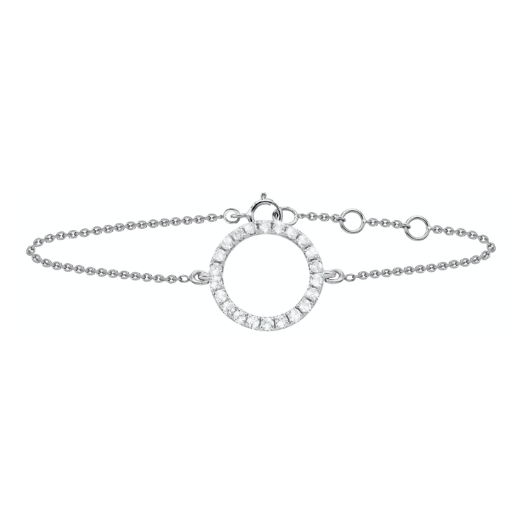 Sleek and sophisticated, this 18k white gold bracelet, crafted with 24 diamonds, adds a sparkle to every outfit and occasion. Adjustable in length and equipped with a sturdy clasp, the Circle of Life bracelet adds a bit of glamour.