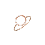 Oliver Heemeyer 18k rose gold Circle of Life diamond ring set with 28 diamonds. Size large.