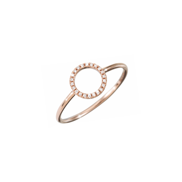 Oliver Heemeyer 18k rose gold Circle of Life diamond ring set with 22 diamonds. Size medium.