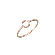 Oliver Heemeyer 18k rose gold Circle of Life diamond ring set with 16 diamonds. Size small.