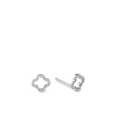 Oliver Heemeyer Clover Diamond Ear Studs made of 18k white gold.