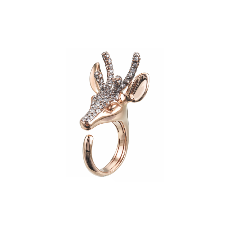 Handcrafted and made of 18k rose gold, with the highest attention to detail. The antlers, forehead and nose are adorned with precious white and silver diamonds. A true signature piece, the Deer ring design by Oliver Heemeyer and definitely an eye-catcher.
