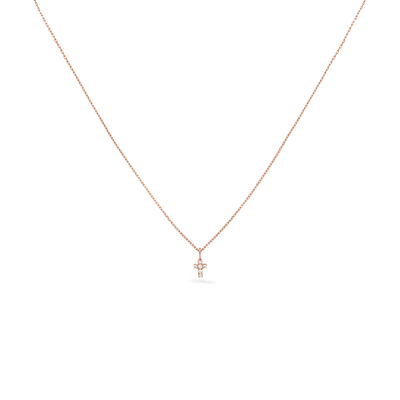 Oliver Heemeyer Diamond Mini Cross Necklace in 18k rose gold.
