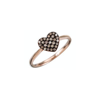 This charming and playful Oliver Heemeyer design is made of 18 rose gold. Carefully handcrafted adorned with brown diamonds arranged in a lovely heart shape.