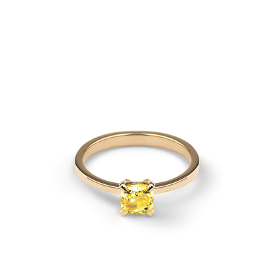 Oliver Heemeyer Fancy Yellow diamond ring in 18k yellow gold.