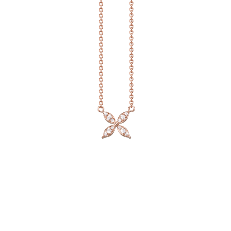 Understatement skilfully combined with a little sparkle.   For this charming jewellery Oliver Heemeyer arranged 12 diamonds in different sizes in a beautiful flower design.  The Flower diamond necklace is a perfect every day jewellery piece and made of 18k rose gold.