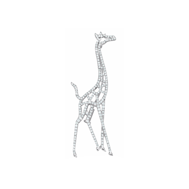 The Giraffe is a symbol for vision, meekness and power. This extraordinary design from Oliver Heemeyer is adorned with 193 diamonds. Handcrafted and made of 18k white gold.