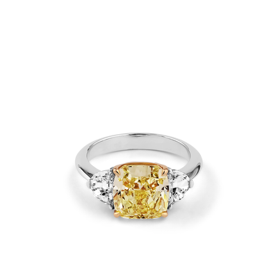 Oliver Heemeyer Helios Fancy Yellow Diamond Ring made of 18k white gold.