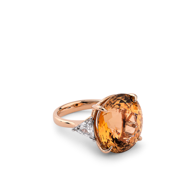 Oliver Heemeyer Honey Tourmaline diamond ring in 18k rose gold.