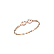 Set with diamonds and made of 18k rose gold the Oliver Heemeyer Infinity diamond ring is a sparkling everyday jewellery piece and an adorable present for a loved one or even yourself.