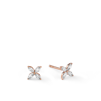 Oliver Heemeyer Marquise Diamond Ear Studs made of 18k rose gold.