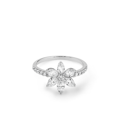 Oliver Heemeyer Marquise Flower Diamond Ring made of 18k white gold.