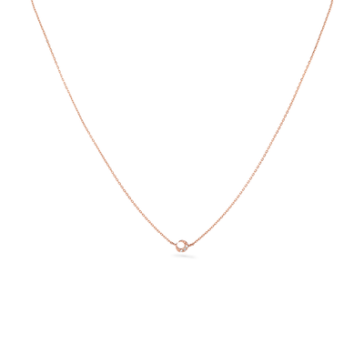 Oliver Heemeyer Mini Moon Diamond Necklace in 18k rose gold.