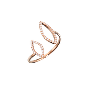 Made of 18k rose gold crafted with 42 diamonds. This Oliver Heemeyer open diamond ring is arranged in two open Navette shapes. A sparkling every day companion.
