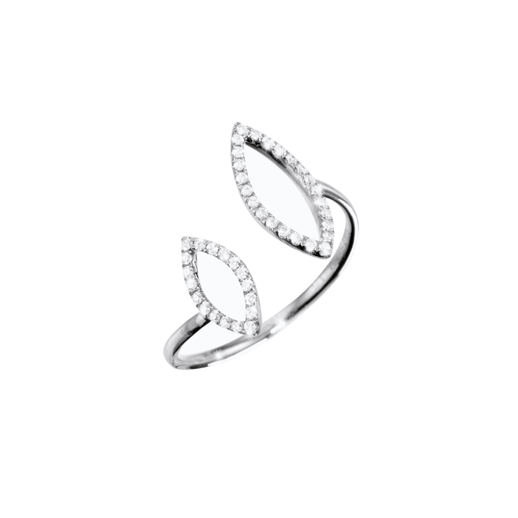 Made of 18k white gold crafted with 42 diamonds. This Oliver Heemeyer open diamond ring is arranged in two open Navette shapes. A sparkling every day companion.