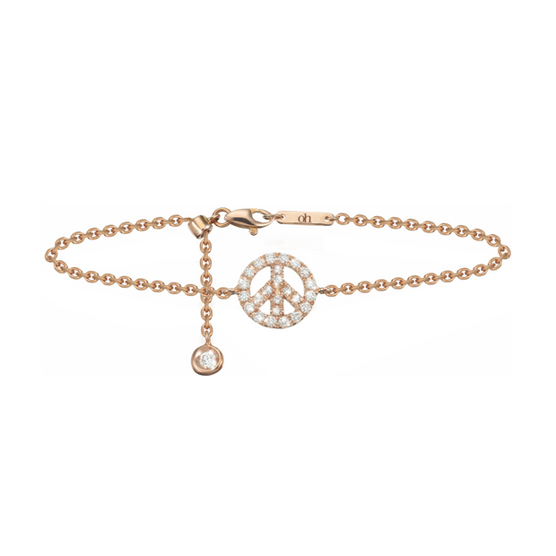 Oliver Heemeyer Peace diamond bracelet made of 18k rose gold and crafted with 24 diamonds.