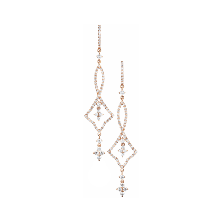 Complement your style with a slight exotic touch with these Oliver Heemeyer 18k rose gold diamond earrings. Detailed and sophisticated – an earring truly out of the ordinary.