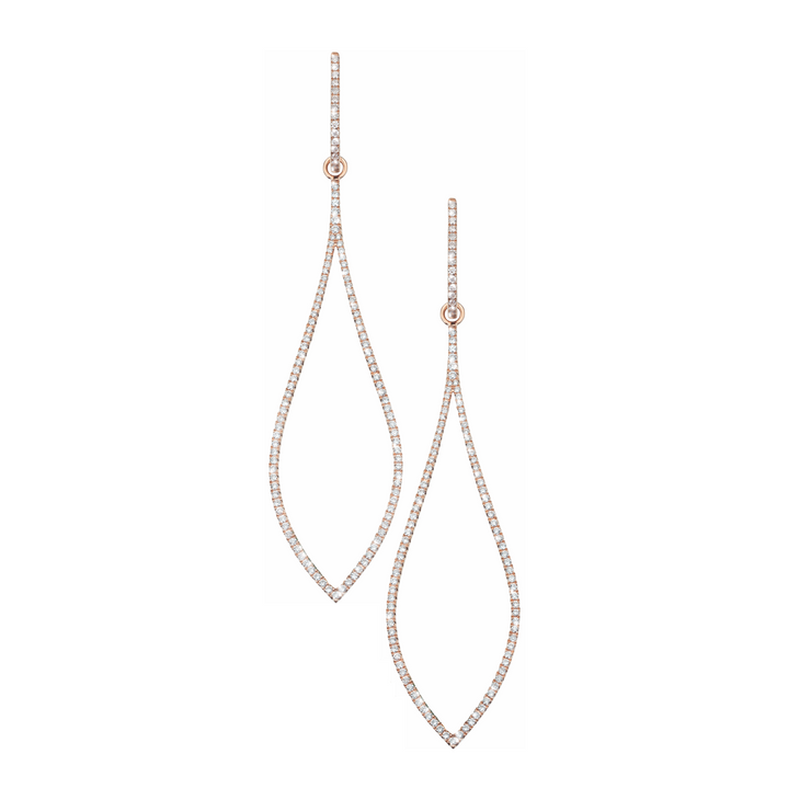 The Oliver Heemeyer Dazzling Me 18k rose gold earrings artfully arrange 232 diamonds in a fabulous chandelier shape and add a sparkle to every business attire.