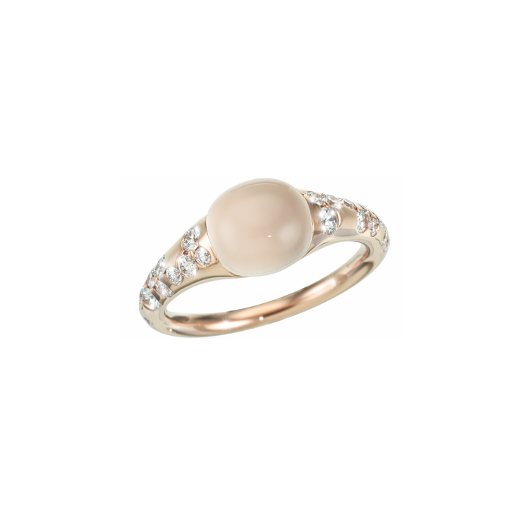 Oliver Heemeyer Moonstone diamond ring crafted in 18k rose gold featuring a white moonstone in its center. Sparkling diamonds accentuate this contemporary design.